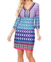 *WOMEN L BRIGHT MULTI-COLORED ARROW PRINTED SHORT DRESS 3/4 SLEEVE WHITE MARK