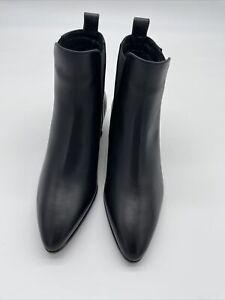 AQUATALIA Angle boot Fabienne Black Cafe Leather Size 6.5