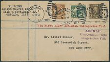 #551, #553, & #C4 ON 1ST NIGHT AIRMAIL FLIGHT COVER CHICAGO TO NY BR9126