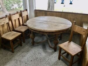 Vintage Solid Wood Farmhouse Dining Table & 4 Chairs
