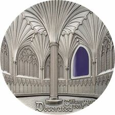 Palau $10 Tiffany Art 2017, WELLS CATHEDRAL Decorated, 2oz silver
