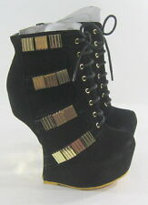 """new Black/Gold  6""""High Wedge Heel LESS  2""""Platform Sexy Ankle Boot  Size 7.5"""