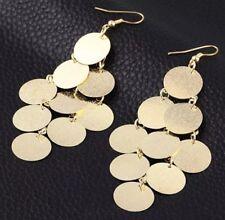 Earrings Round Frosted Tassel Long Earrings Gold Toned