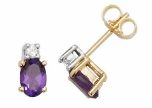 9ct Diamond and Amethyst Oval Studs Earrings New