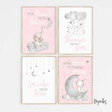 Baby Girl Nursery Wall Art Decor Prints. Elephant, moon clouds, Stars. Set of 4