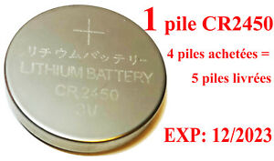 1 Pile Bouton 3V CR2450 DL2450 ECR2450 BR2450 5029LC Lithium (Validité 2023) 4=5