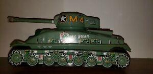 Vintage U S Army Ordnance Sherman Tank M-4 Tin Litho Bat Op Taiyo Japan 1960's