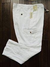 Men's CARIBBEAN White 100% LINEN Drawstring Cargo Pants 42x32 NEW NWT Nice!