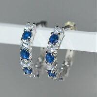 2Ct Round Cut Sapphire & Diamond Huggie Hoop Earrings Solid 14K White Gold Over