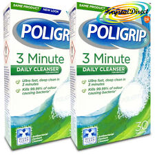 2x Poligrip 3 Minute Denture Daily Cleanser 30 Tablets