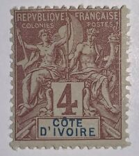 Travelstamps: 1892 Ivory Coast Stamps Navigators Sc # 3, Mint, Og, Hinged