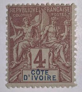 Travelstamps: 1892 Ivory Coast Stamps Navigators Sc # 3, Mint, Og, Hinged