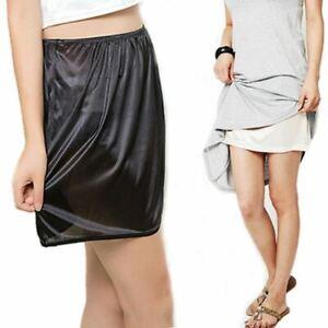 1 Pc Women Satin Half Slip Underskirt Petticoat Under Dress Mini Skirt Safety Sk