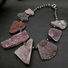 18'' Natural 23x46MM Agate Druzy Necklace