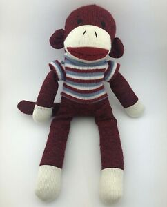 "Dan Dee Sock Monkey 17"" Plush Stuffed Animal Toy Red White Blue Striped Sweater"
