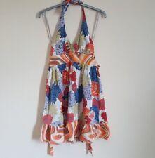 River island Summer Halter Neck Colourful Multi Dress Floral Boho Cotton Skater8