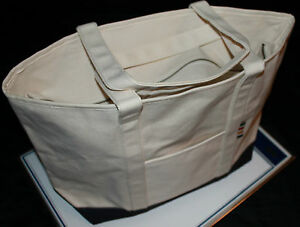 HUDSON'S BAY COMPANY COLLECTION Canvas Zip Tote Bag White Navy $45 Retail
