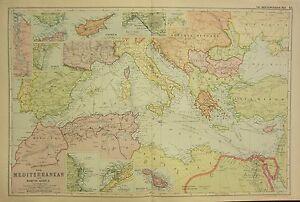 1912 LARGE ANTIQUE MAP ~ MEDITERRANEAN & NORTH AFRICA CYPRUS VENICE NAPLES MALTA