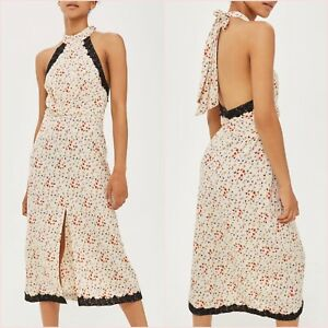 SALE Topshop Cream Floral Lace Halter Slit Open Back Midi Dress UK 10 14 US 6 10