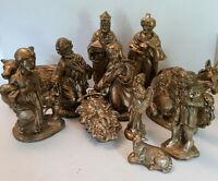 """Vtg 12 pc Nativity Set MCM Gold Gilt Large Heavy 12"""" Creche Manger Scene Ornate"""