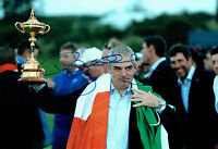 Paul McGINLEY SIGNED AUTOGRAPH Photo Holding Irish Flag AFTAL COA Ryder Cup