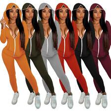Hot Sale Women Hoodie Long Sleeves Zipper Solid Color Casual Sport Jumpsuit 2pcs