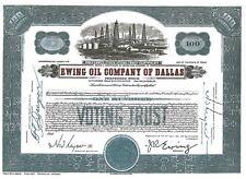 Stock Certificate of Ewing Oil Company of Dallas