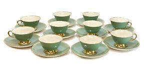 10 Flintridge China Sage Green & Gilt Porcelain Cup & Saucers