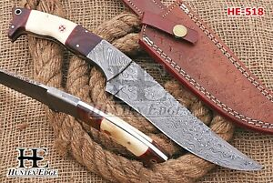 HUNTEX Custom Handmade Damascus 295 mm Long Full-Tang Camel Bone Hunting Knife