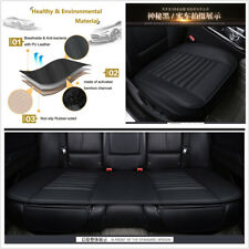 Car Full Surround Black PU Leather Car Front+Rear Seat Cover Pad Bamboo Charcoal