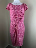 Victoria's Secret Size L Pink Leaves Ruched Wrap Dress Pink Cap Sleeves