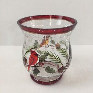 Christmas Crackle Glass Votive Tea Light Holder Red Rimmed Cardinal Winter Birds