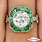 Estate Diamond 5.75ct Green Emerald Platinum Engagement  Ring 6.8 Grams NR
