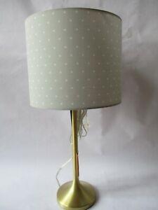 Kate Spade Brushed Gold Candlestick Table Lamp ~ Gray & White Polka Dot Shade