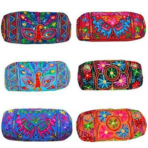 "18""x 7"" Indian Suzani Embroidered Cylinder Bolster Round Cushion Cover Takiya"