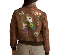Polo Ralph Lauren Womens Floral Stencil Vintage Leather Bomber Logo Jacket Coat