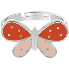 Rhodium Plated Orange Pink Enamel Butterfly Adjustable Rings for Girls