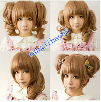Lolita Light Brown Heat Friendly Clip on 2 Ponytails Wavy Hair full Cosplay Wigs