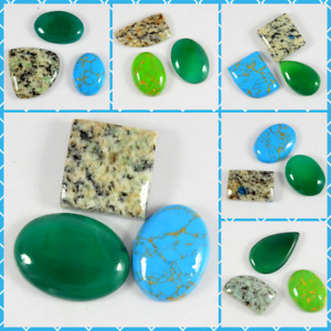 Natural Agate jasper Turquoise Chalcedony Mixed Lot Cabochon Loose Gemstone-3pcs