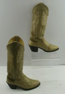 Ladies Justin Beige Snakeskin Leather Round Toe Western Cowboy Boots Size: 5.5 B