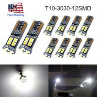 10PCS Canbus T10 3030 12SMD LED 4000K White Car Side Light 720LM Bulbs HOT