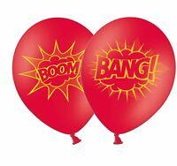 "Superhero Boom & Bang 12"" Red Printed Latex Balloons By Party Decor 5ct"