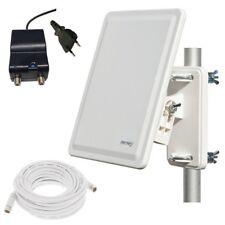 Full HD DVB-T2 Außenantenne AKTIV + 64 dB Antenne GL800 + 10m Kabel +IEC Stecker