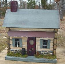 Log Cabin , Primitive House, Functional Birdhouse , Rustic Birdhouse , Birdhouse