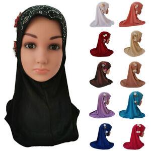 Ramadan Kids Girls One Piece Headscarf Hijab Turban Hat Muslim Amira Wrap Shawl