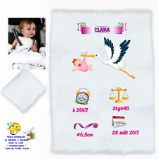 plaid couverture bébé personnalisé cadeau naissance prenom texte choix réf 07