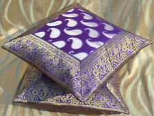 Set of two purple silk cloth paisley pattern brocade border pillow cover India