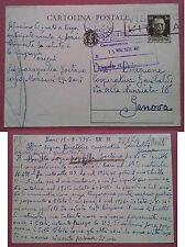 Bari-Genova Navigazione Garibaldi 1938: Cartolina postale