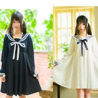 Japanese Lolita Mori Girl Dress Cute Sailor Collar Harajuku Long Sleeve Skirts
