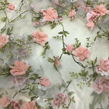 "1 Yard 3D Chiffon Rose Floral Ivory Organza Lace Fabric 51"" Width"